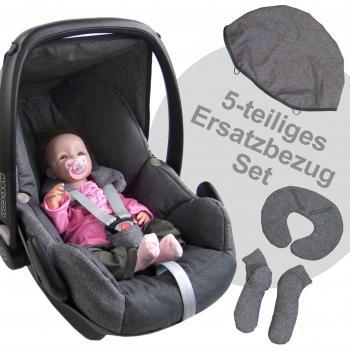 Bezug f/ür Babyschale Komplett-Set *NEU* GRAU//PINK *NEU* BAMBINIWELT Ersatzbezug f/ür Maxi-Cosi PEBBLE 5-tlg